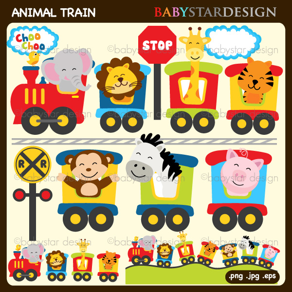 Pastel clipart choo choo train For Train scrapbooking cute Animal
