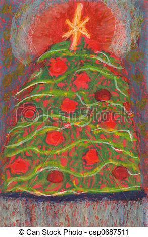 Christmas Tree clipart pastel Illustration christmas card on oil