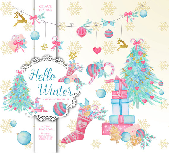 Christmas Tree clipart pastel Clipart Watercolor Clip Christmas Clipart