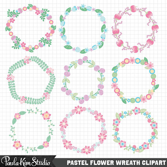 Wreath clipart pastel flower Clip Pastel Easter Flower Wreath