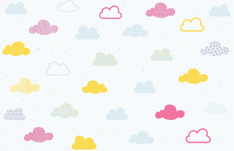Clouds clipart pastel Bright Pastel kids pastel Wall