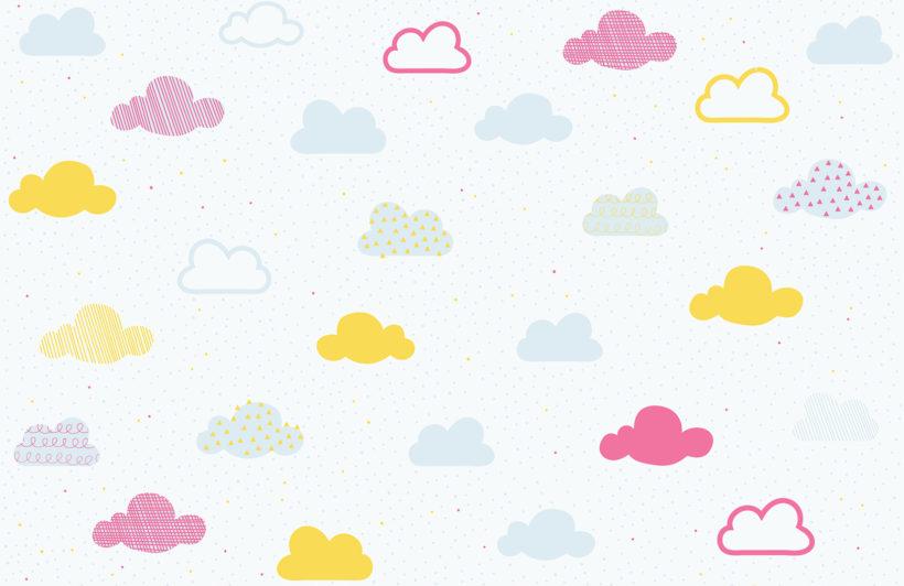 Pastel clipart cloud Wallpaper pastel Mural kids plain
