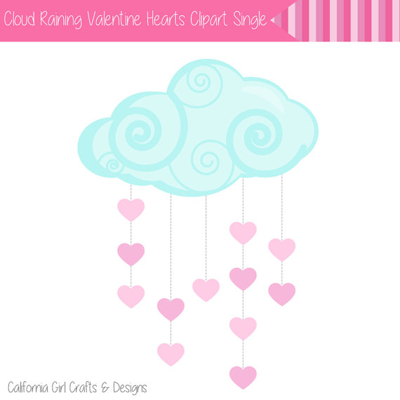 Pastel clipart cloud Valentine's Clip Raining  Hearts