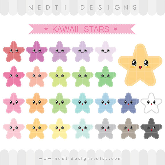 Pastel clipart colorful star Items Clipart on Etsy Stars