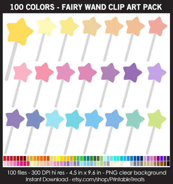 Pastel clipart colorful star Pack Star Wand Clipart Pack