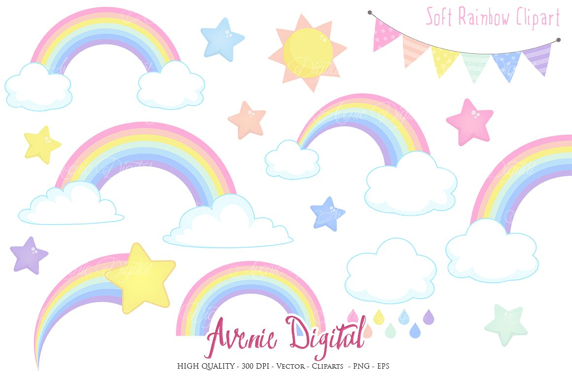 Pastel clipart colorful star Illustrations ~ BBCpersian7 Creative Clipart