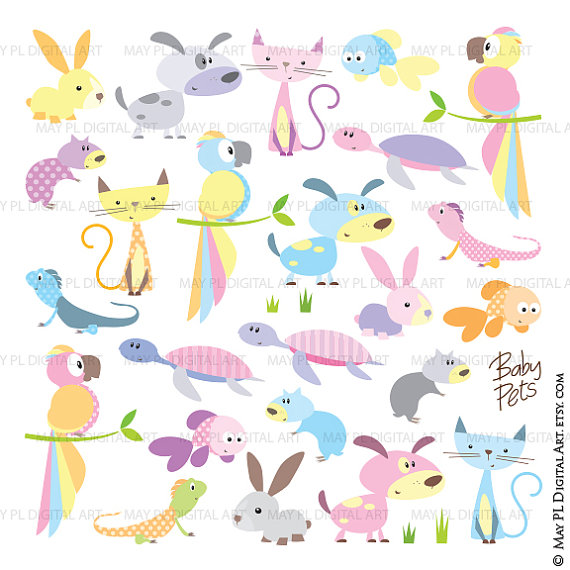 Baby Animal clipart pastel Clipart collection Dog pastel Animals