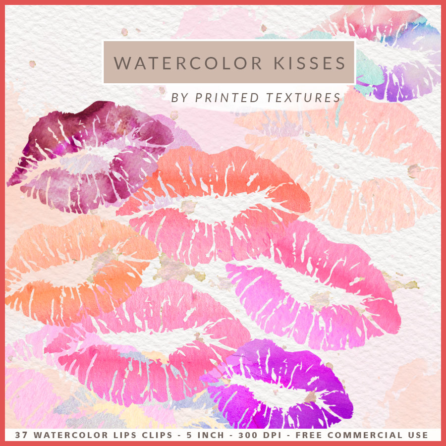 Kisses clipart pink glitter Kisses Lips WATERCOLOR Pastel This