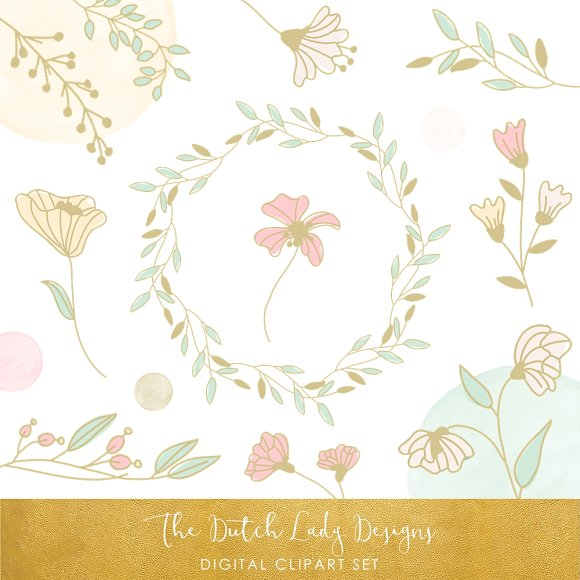 Pastel clipart spring flower  Illustrations in Flower in