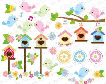 Pastel clipart spring flower Clip flower Birds Commercial and