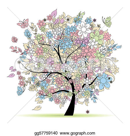 Pastel clipart spring flower Design tree Vector your in