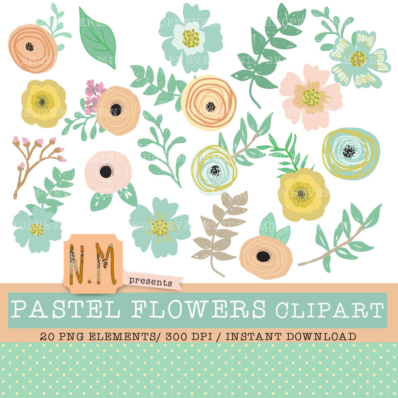 Pastel clipart spring flower  file is decorative floral