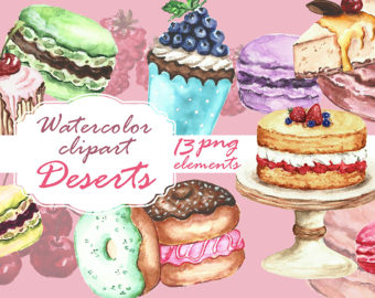 Pastry clipart baked sweet Party watercolor art Watercolor clipart