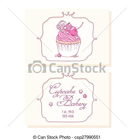Pastry clipart cherry cupcake Cupcake template Hand business shop