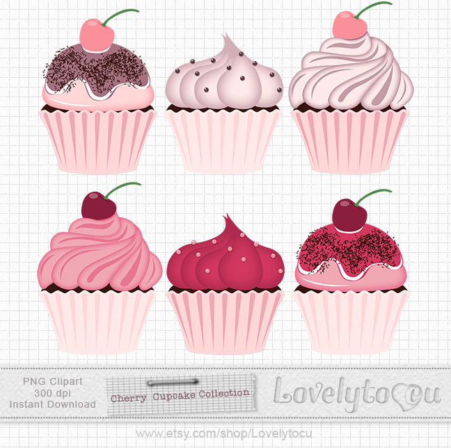 Pastry clipart cherry cupcake Art on chocolate Cupcake and