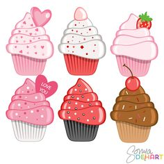 Pastry clipart cherry cupcake Valentines Cherry Lovelytocu art by