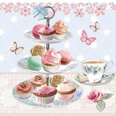 Pastry clipart cream tea Afternoon Stand Metal tea Afternoon