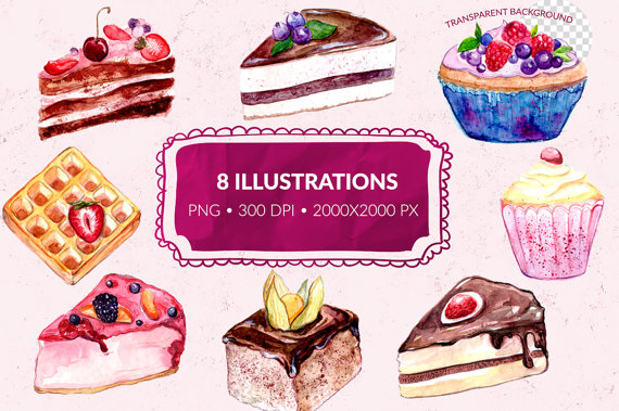 Pastry clipart cupcake Dessert Digital ClipartAndPrintables Watercolor background