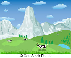 Pasture clipart Background landscape art Illustrations mountain