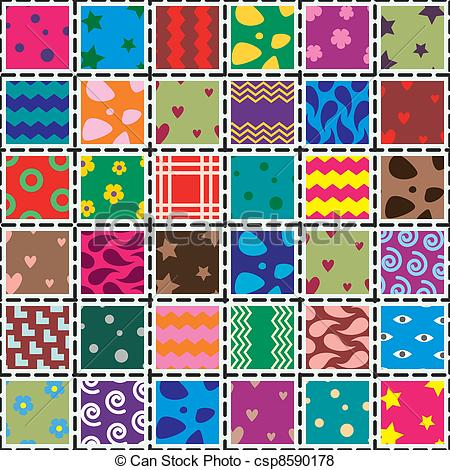 Patchwork clipart Of background vector fabric csp8590178