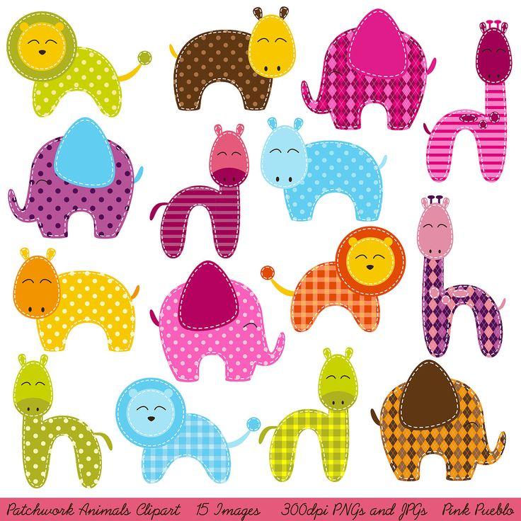 Patchwork clipart baby shower Patchwork Jungle Clip Art Animals