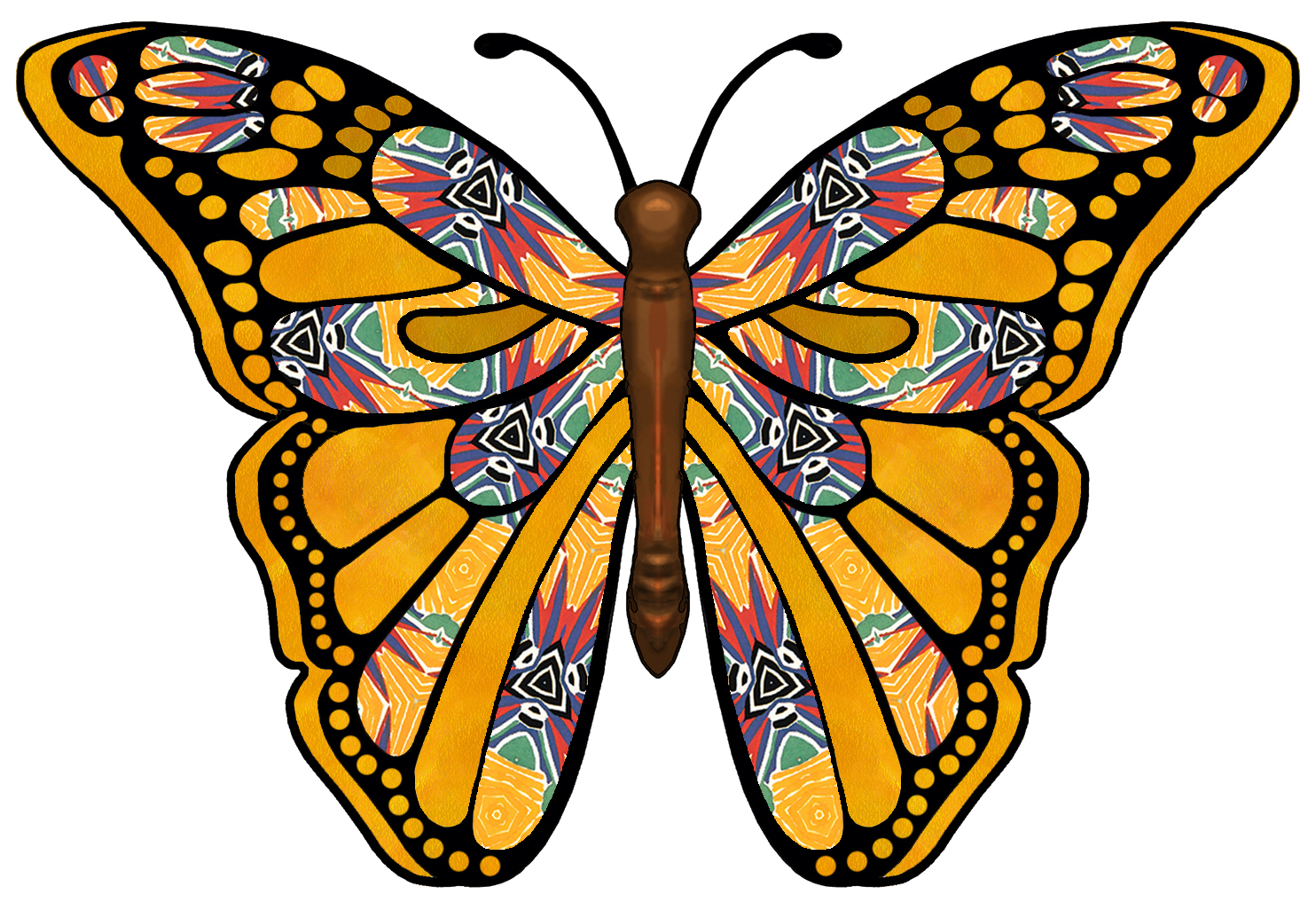 Colouful clipart butterfly wing #8