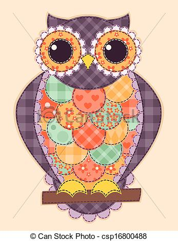 Patchwork clipart colorful Colored owl Vector csp16800488 of