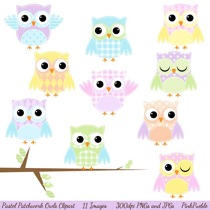 Patchwork clipart colorful Art Owl Clip Clip Clip