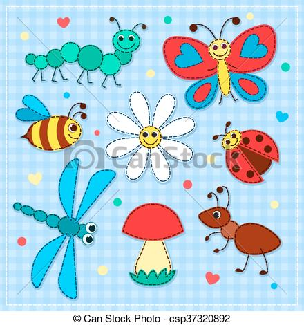 Patchwork clipart cute Children of cute insects children