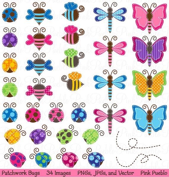 Patchwork clipart pink Baby Ladybug Patchwork Art Bee