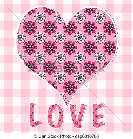 Patchwork clipart pink  of of pink heart