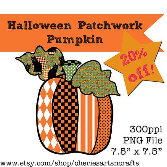 Patchwork clipart pumpkin Clip #halloweenclipart Pumpkin #pumpkingraphics CheriesArtsnCrafts