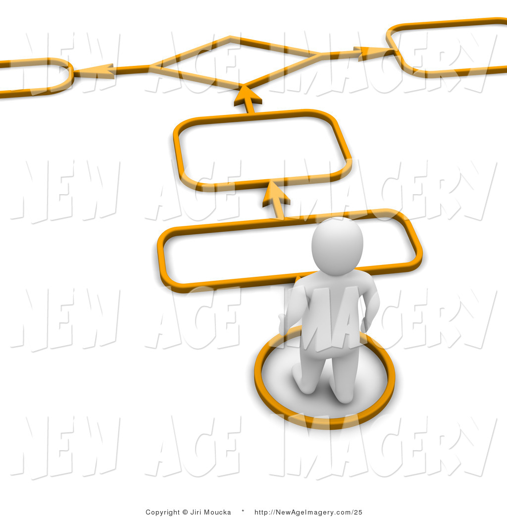 Path clipart decision Of an 3d Illustration Character
