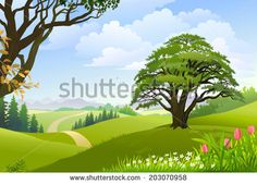 Pathway clipart background · lush GREEN VILLAGE FIELDS