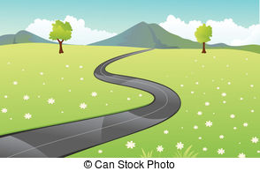 Road clipart narrow road Vector illustration and Paved Beautiful