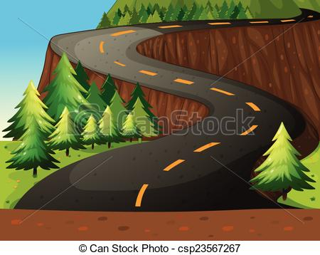 Pathway clipart curvy road Nature forest of road theme