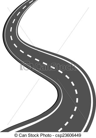 Pathway clipart curvy road With road of Winding markings
