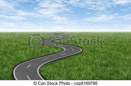 Asphalt clipart windy road Road on Curved grass Illustration