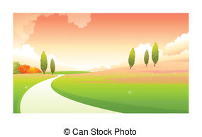 Footprint clipart curved path Curved There over are green