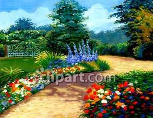 Pathway clipart garden path Free Picture Path Flowers Through
