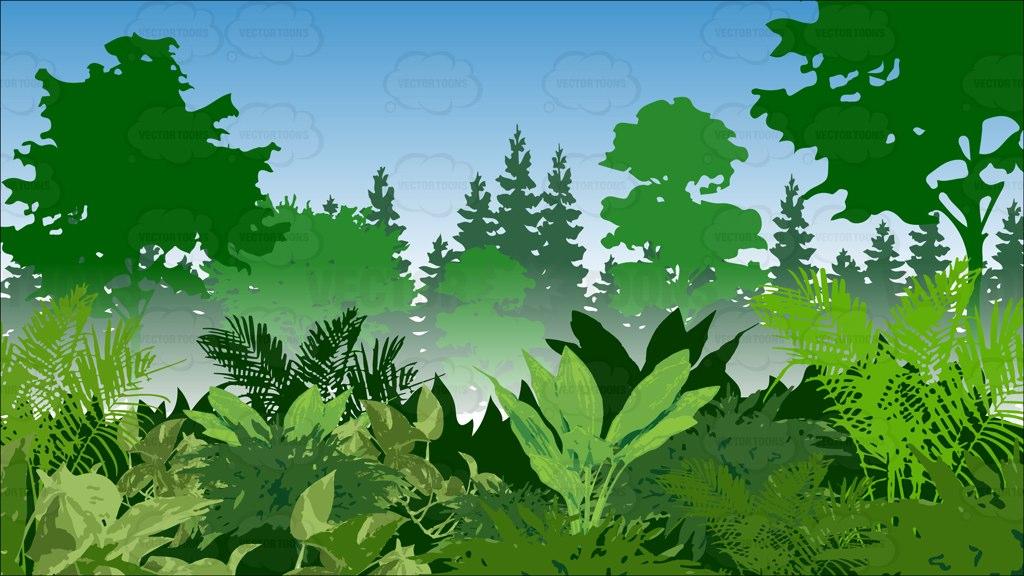 Wood clipart jungle scene Lush Cartoon Green LUSH Lush