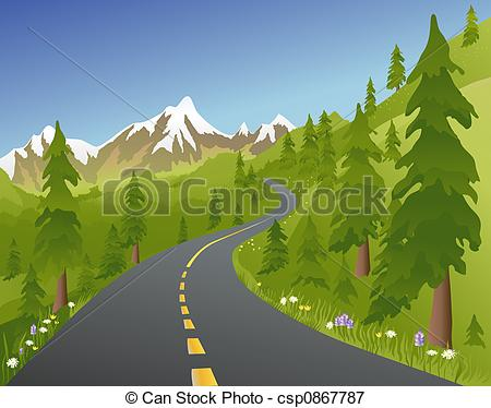 Pathway clipart mountain road 212 a Stock illustration in