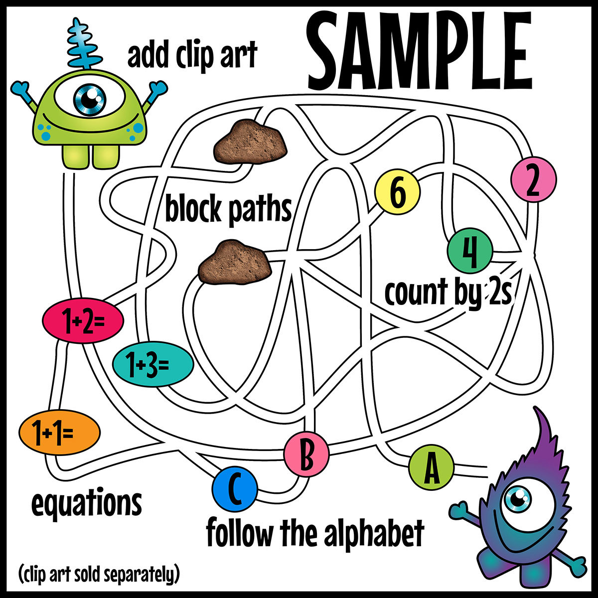 Pathway clipart multiple path Path Maze  Correct the