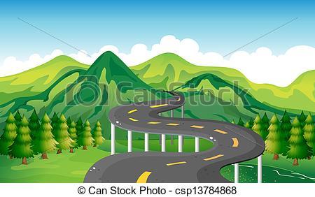 Road clipart narrow road Of A a narrow Vector