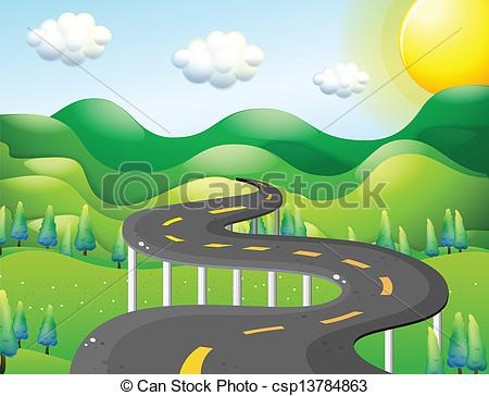 Road clipart narrow road Vector of Illustration very Art