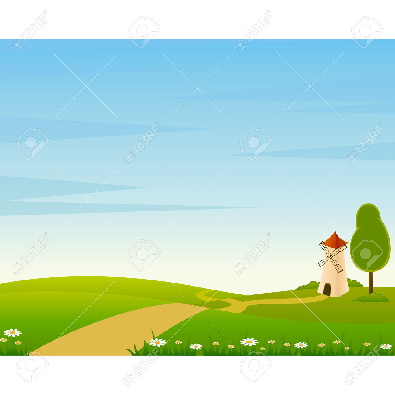 Community clipart country landscape Cartoon Landscape Road Farm cliparts