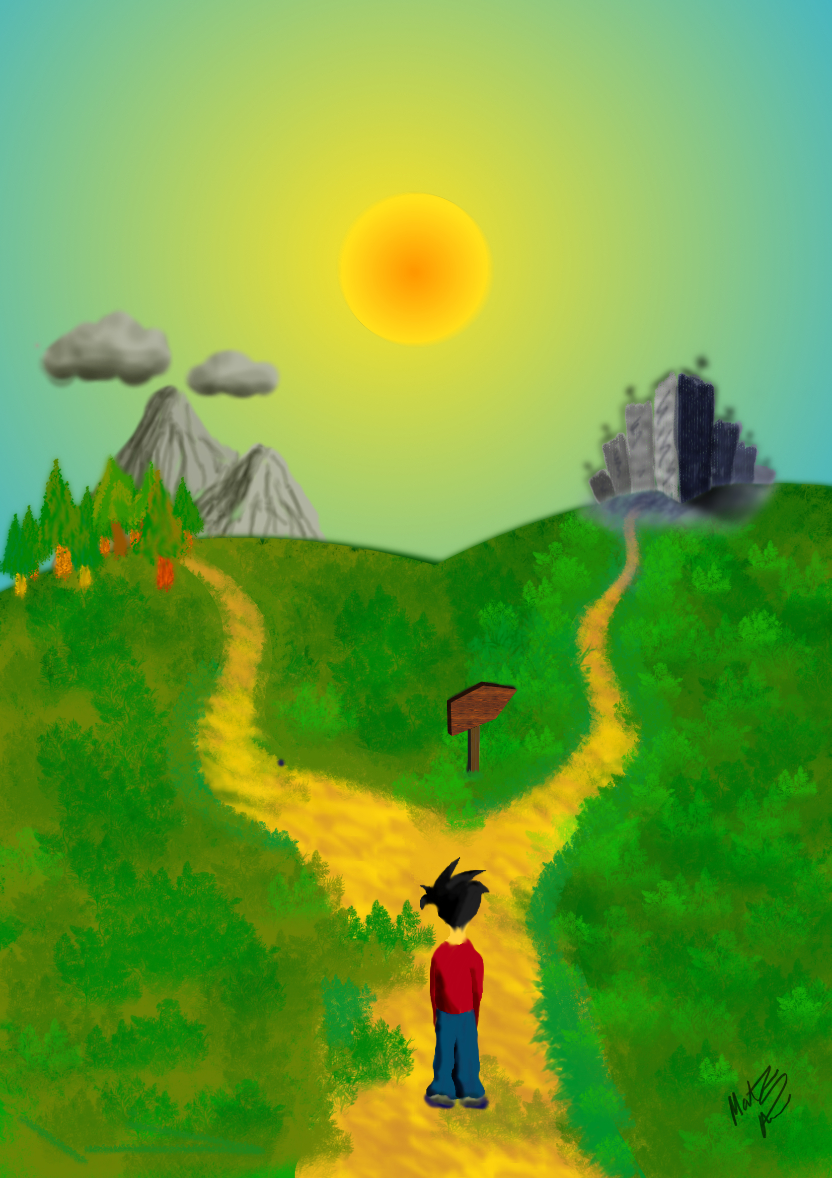 Pathway clipart two road Diverged Roads Clipart Two Roads