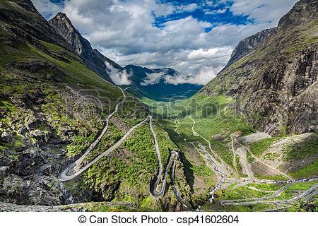 Pathway clipart valley landform Trollstigveien mountain Trollstigveien or