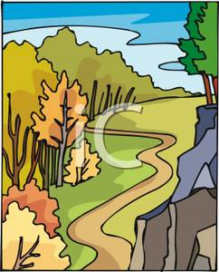 Road clipart winding trail Royalty With Winding Winding Path