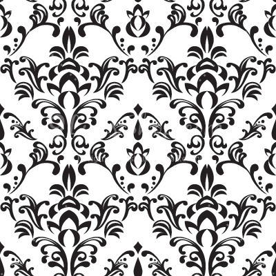 Pattern clipart background pattern Damask Vector Free White Black